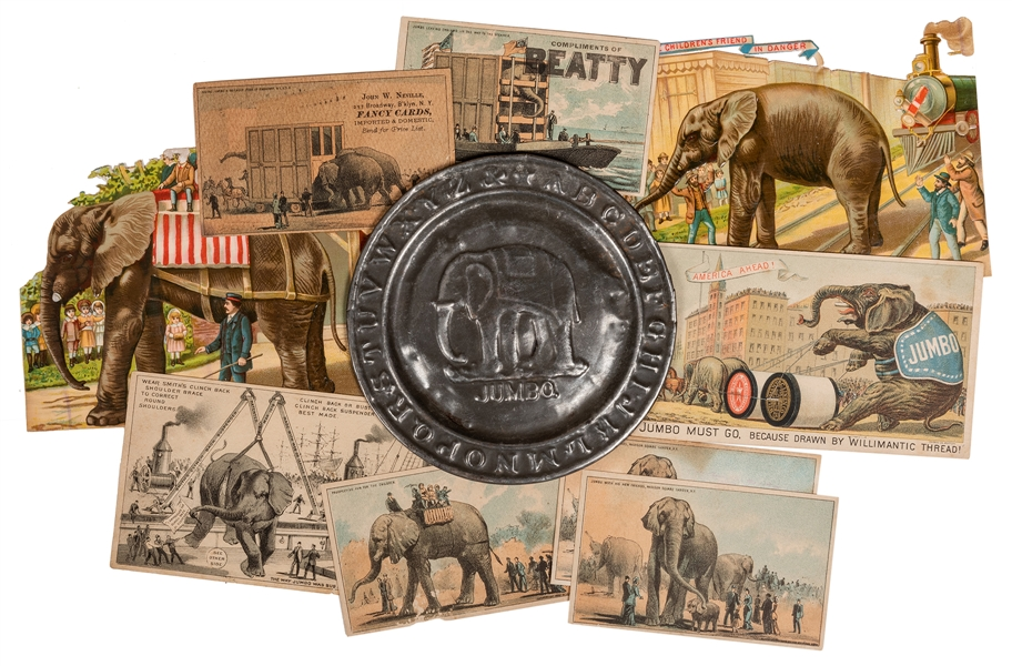 Jumbo / Circus Elephants Trade Cards and Die Cuts.