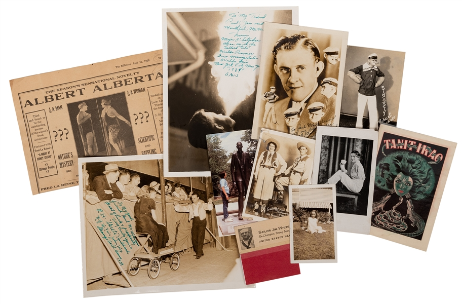 Sideshow Performer Photographs, Postcards, and Pitchbooks.