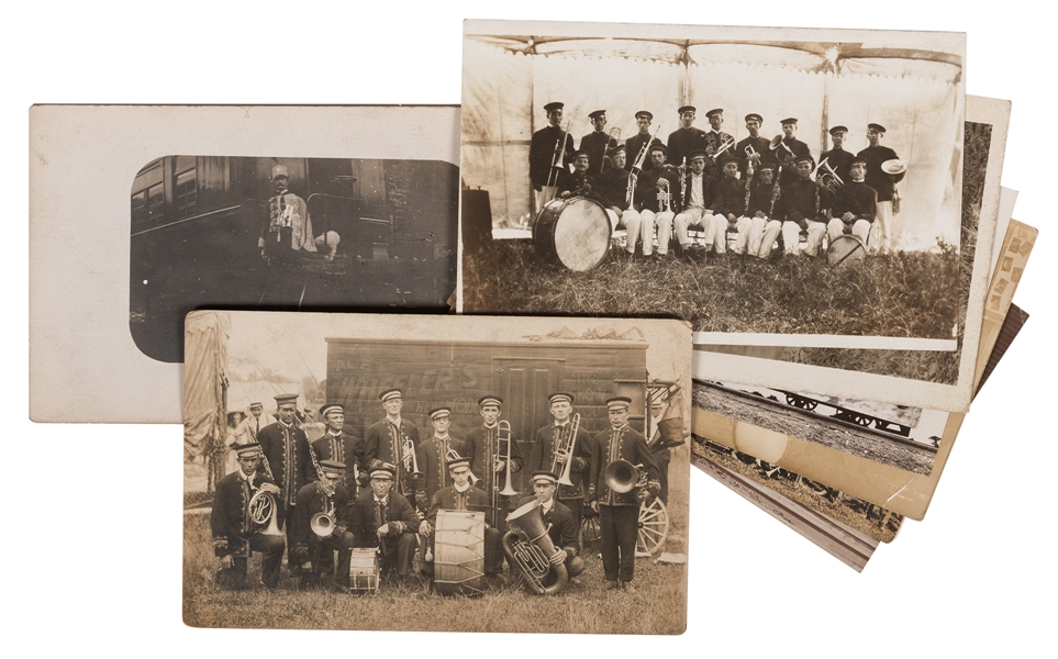 Eight Postcards of Circus Bands and Musicians.