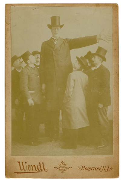 The Giant Hugo Sideshow Cabinet Card Photograph.
