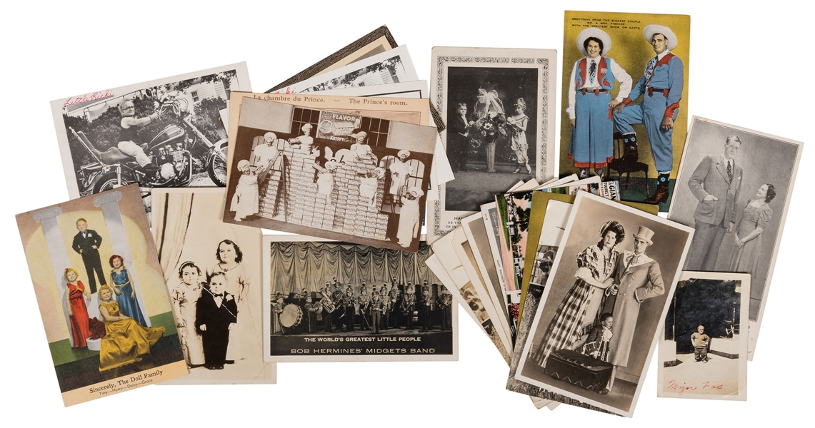 Postcards of Sideshow Giants and Little People. Lot of 30.