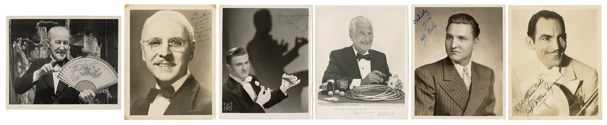 Six Signed Photographs of Famous Magicians.