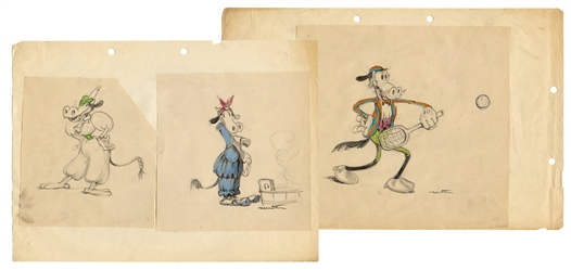 Ferdinand Horvath Clarabelle Cow and Horace Horsecollar Drawings.