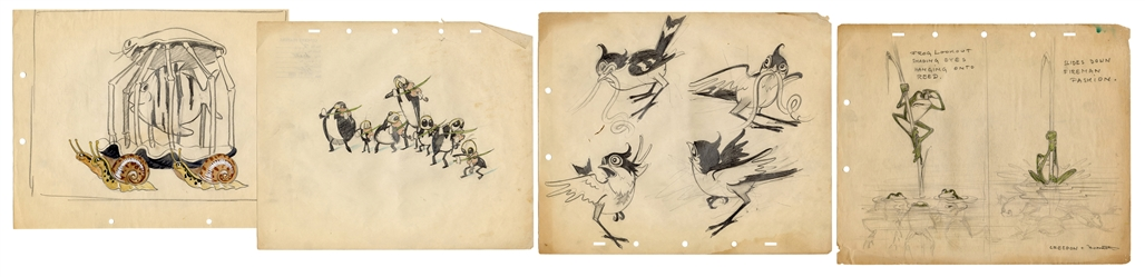Ferdinand Horvath Disney Frog Illustration, and Three Others.