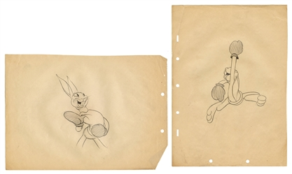 "Disney Silly Symphonies ""Toby Tortoise Returns"" Pair of Max Hare Drawings."
