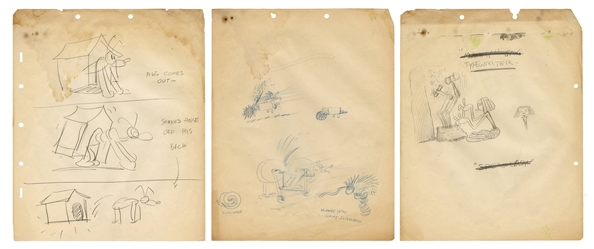 Disney Pluto Preliminary Animation Sketch, and Two Others.