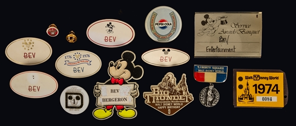 Collection of Walt Disney World Pins, Buttons, and Badges.