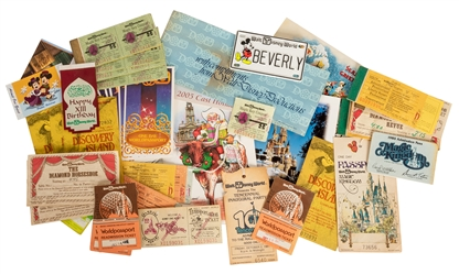 Collection of Walt Disney World Coupon Books, Passports, Passes, and Pins.