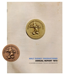 "Walt Disney Productions ""50 Happy Years"" Bronze Medallion and Annual Report."