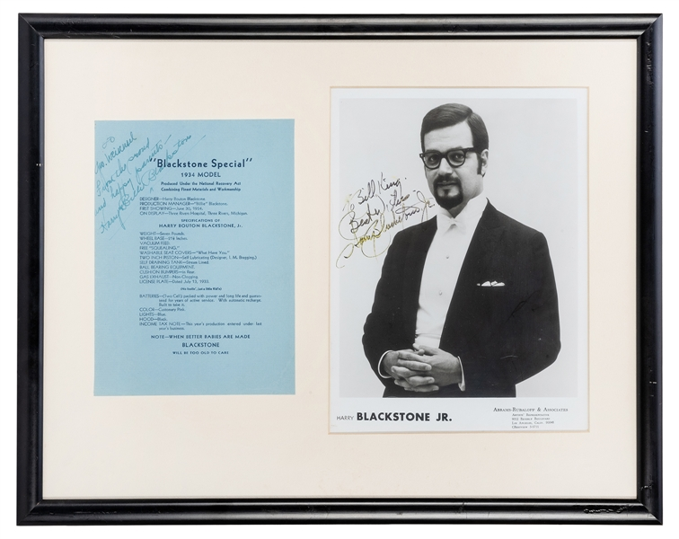 Signed Birth Announcement and Signed Photograph of Harry Blackstone, Jr.