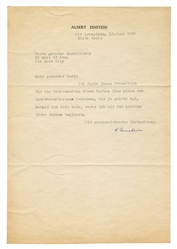 Albert Einstein Typed Letter Signed.