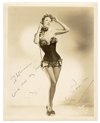 Gypsy Rose Lee Inscribed and Signed Striptease Photo.