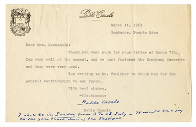 Pablo Casals Typed Letter Signed.