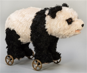 Steiff Panda Bear on Wheels 1938 Replica. 2008. One of 1,00...