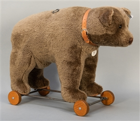 Steiff Bear on Wheels 1921 Replica. 2003. One of 1,500 exam...
