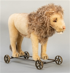 Steiff Lion on Wheels 1909 Replica. 2007. One of 1,000 exam...