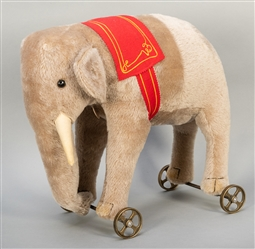 Steiff Elephant on Wheels. Modern limited edition (of 1,000...