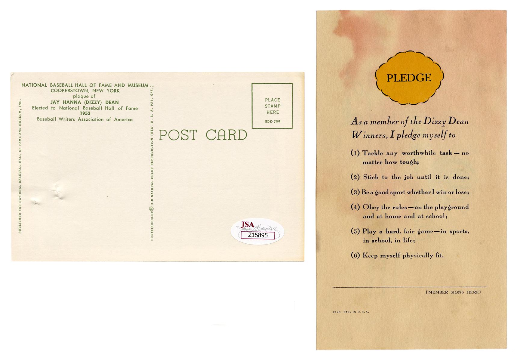 certification jsa dizzy hof dean postcard signed glossy bidding