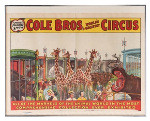 Cole Bros. Circus. Menagerie. Erie Litho, ca. 1930s. Color ...
