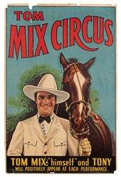 Tom Mix Circus. N.p., ca. 1910s. Color lithograph for a liv...