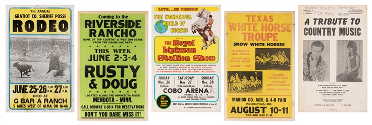 Group of 5 Rodeo and Country Music Window Cards. American, ...
