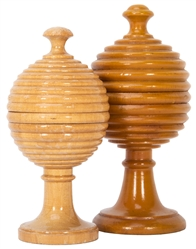 Two Vintage Ball Vases. German, ca. 1930. Turned from wood,...