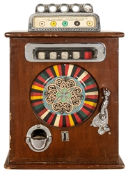 """Ben Hur"" 50 Cent Single Wheel Slot Machine. Player puts do..."