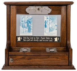 Exhibit Supply Co. 1 Cent Card Vendor. Oak cabinet, mirrore...