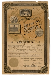City of Chicago Amusement License. 1895. License #182. Lith...
