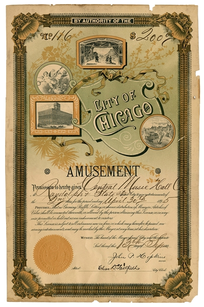 City of Chicago Amusement License. 1894. License #116. Lith...