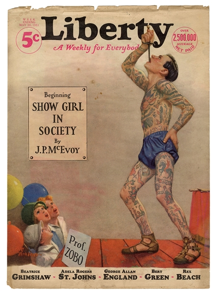 Liberty Magazine 1931 Tattooed Sword Swallower Cover. Front...