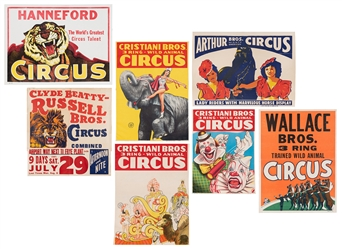 Group of 7 Half-Sheet Circus Posters. American, ca. 1950s/6...