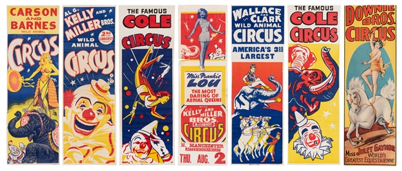 Group of 7 Panel Circus Posters. American, ca. 1950s/60s. I...