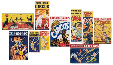 Group of 10 Circus Posters. American, ca. 1950s/60s. Includ...