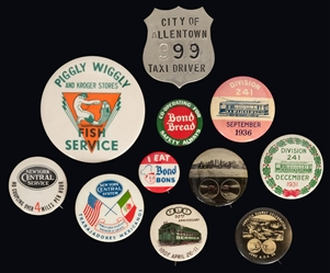 Railroad, Transportation, and Advertising Pins and Badges. ...