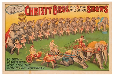 Christy Bros. Big 5 Ring Wild Animal Shows. Erie Litho, 192...