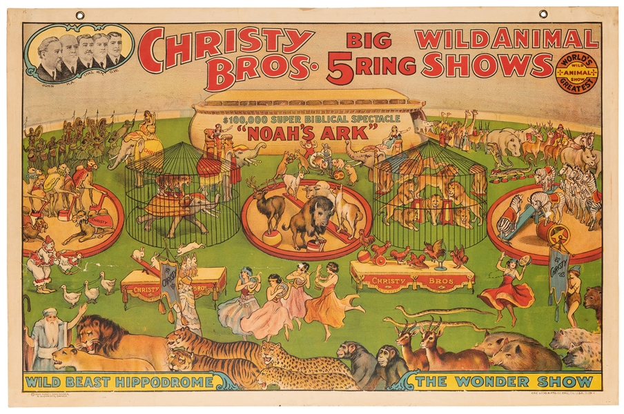 Christy Bros. Big 5 Ring Wild Animal Shows. Noah's Ark. Eri...