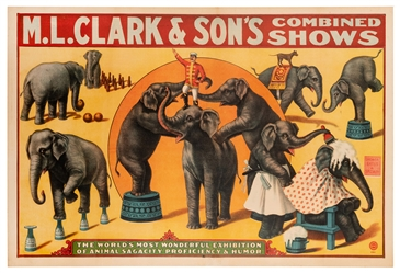 M.L. Clark & Sons Combined Shows. Trained Elephants. Milwau...
