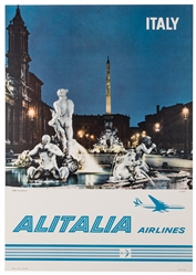 Alitalia / Italy. 1960s. Photo-offset travel poster depicts...