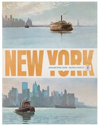 American Airlines / New York. 1960s. Lithograph travel post...