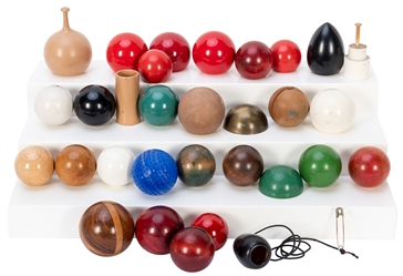 Collection of Turned Thayer Billiard Balls and Gimmicks. Lo...