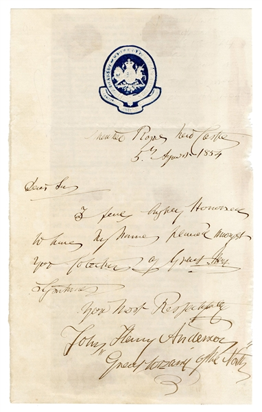 Anderson, John Henry. Autograph Letter Signed by Anderson, Great Wizard of the North.