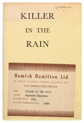 CHANDLER, Raymond (1888–1959). Killer in the Rain. London: ...